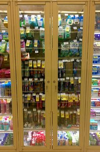Products behind locked cases at the Potrero Center Safeway. Photo: JACOB BOURNE