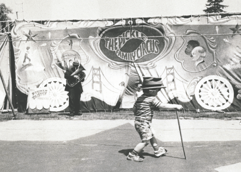 Pickle Family Circus: Lorenzo Pisoni in the foreground, Larry Pisoni in background Photo: TERRY LORANT