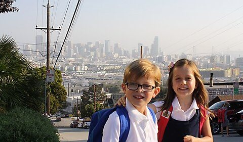 Brett and Maggie on a walk to school. Photo COURTESY OF ERIN LOBACK