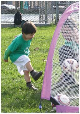 Three-year old Gabe Cheung kicking it! PHOTO: Michael Iacuessa