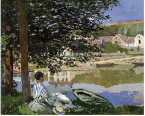 "Claude Monet, ""On the Bank of the Seine, Bennecourt,"" 1868. Oil on canvas, 32 1/16 x 39 5/8 in. The Art Institute of Chicago, Potter Palmer Collection. 1922.427. Photography © The Art Institute of Chicago."