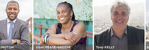Candidate photos, from left to right: Gloria Berry, Theo Ellington, Uzuri Pease-Greene, Tony Kelly, Shamann Walton
