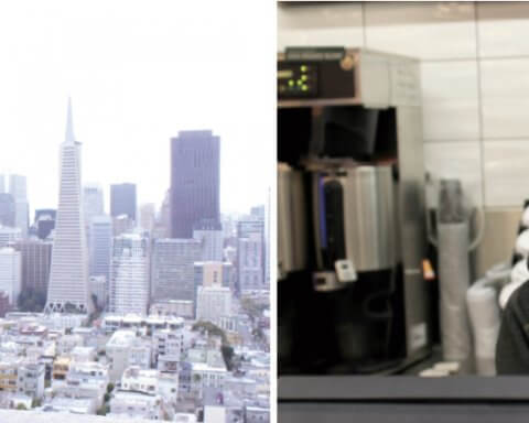 Photos - Left: Luis Reyes, enjoying Coit Tower's view on his lunch break. Right: Eluteria Alatorre, getting the cash register ready for the weekday lunch rush. Credit: Paul James
