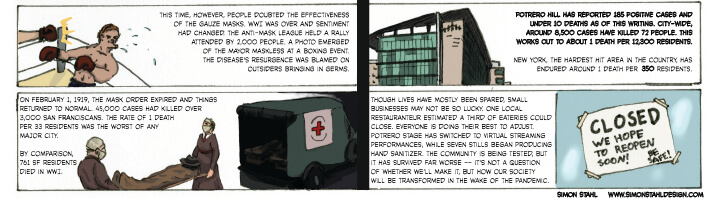 "fourth section of ""comic"" entitled ""The Spanish Flu of 1918 vs. The Novel Coronavirus of 2020"" by Simon Stahl"