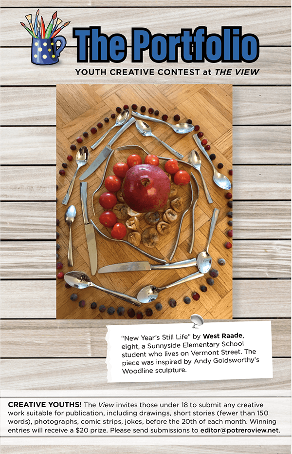 """""""New Year's Still Life"""" by West Raade, eight, a Sunnyside Elementary School student who lives on Vermont Street. The piece was inspired by Andy Goldsworthy's Woodline sculpture."""