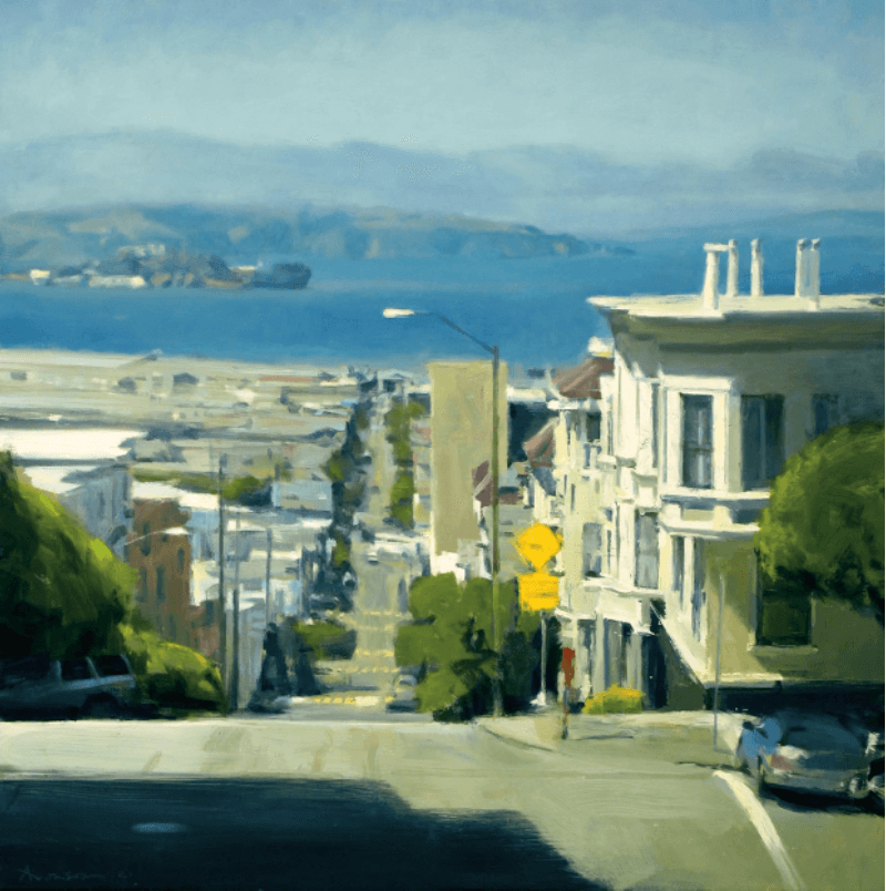 Photo of painting by Ben Aronson. Sun on the Bay, 2021, oil on panel, 48 x 48 inches. Courtesy of Jenkins Johnson Gallery