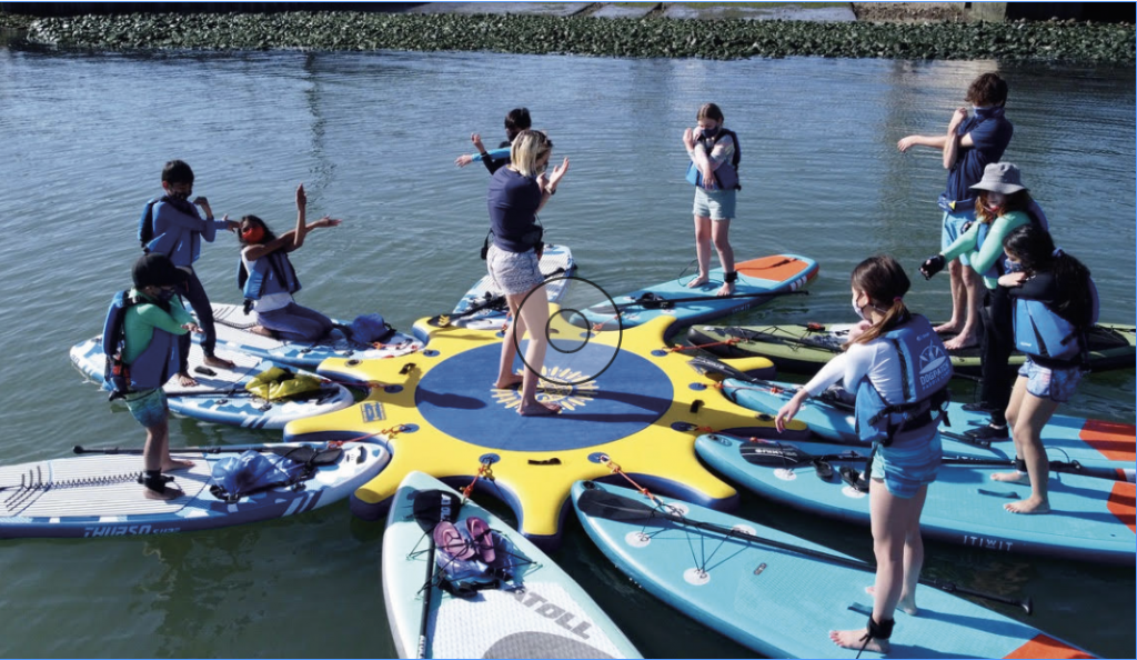 A group of stand up paddle boarders engaged in warm up exercises.