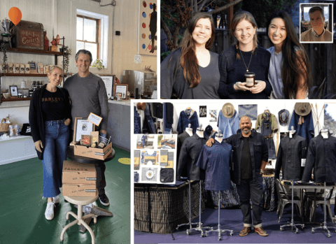 """Photos of business owners: Left: Amy and Chris Hillyard, co-owners of Farley's Coffee, showcase goods from their café and products made by local artists. PHOTO: Courtesy of Farley's Coffee; Top right: The founders of Noble & Co, a Potrero Hill-based business that makes scented soy wax candles. Left to right: Haley Kannall, Julie Noble, Alex Tamura. Inset: Will Noble. PHOTO: Courtesy of Noble & Co; Lower right: Ulrich """"Ubi"""" Simpson, creative director of Mi Cocina, Inc., surrounded by items from his denim clothing line. PHOTO: Courtesy of Ulrich Conrad Simpson"""